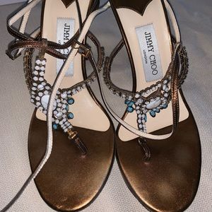 Jimmy Choo sandals blue white stones sandals 38.5